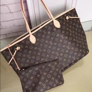 New LOUIS VUITTON Neverfull Handbag Purse Allayxyh